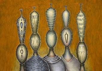 Five figures, out of nothingness, year: 1987, size: 140x200cm, material: oil on canvas, photographer: n/a