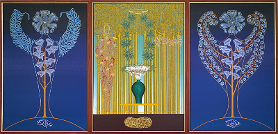 The song of the earth (tryptichon, with wooden frame), year: 1996/97, size: 230x460cm, material: oil on canvas, gold leaf, photographer: n/a
