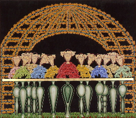 The Lord's Supper V, year: 2000, size: 135x155cm, material: paper cut, watercolours on paper, gold leaf, photographer: n/a