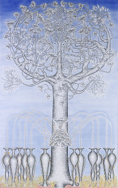 The tree II, year: 2001, size: 206x131cm, material: pencil, watercolours, gold leaf on paper, photographer: Josef Riegger, Allschwil, CH