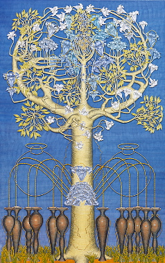 The tree III, year: 2001, size: 206x131cm, material: paper cut, watercolours, gold leaf on paper, photographer: Josef Riegger, Allschwil, CH
