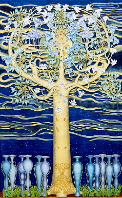 The wounded tree, year: 2001/02, size: 206x131cm, material: paper cut, watercolours, gold leaf on paper, photographer: Josef Riegger, Allschwil, CH