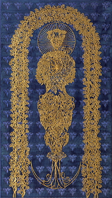 Madonna in the arbour III, year: 2002, size: 170x96cm, material: paper cut, oil, watercolours, gold leaf on paper, photographer: Josef Riegger, Allschwil, CH