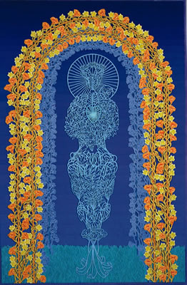 Image of heart, or Coming from the Blue, year: 2003-2005, size: 90x60cm, material: paper cut, oil and watercolours on paper, photographer: Natacha Salamin, Basel, CH