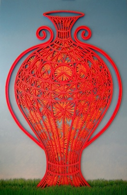 Triptychon - Red, year: 2009, material: paper cut - oil, gold on paper, photographer: private picture