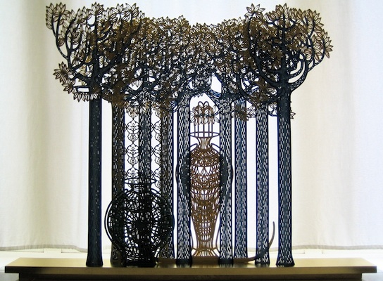 The easily damaged stays on - 1, year: 2010, size: 100x78x10cm, material: paper sculptur, paper cut, crayon - watercolour - paper - wood, photographer: private