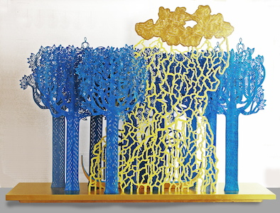 Forest at 4 o'clock in the morning, year: 2014, size: 100x73x21cm, material: paper sculptur (free standing), paper cut, water colours - gold on paper - wood - glue - oil, photographer: private